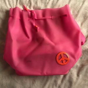Handbags - Pink plastic drawstring backpack with peace sign